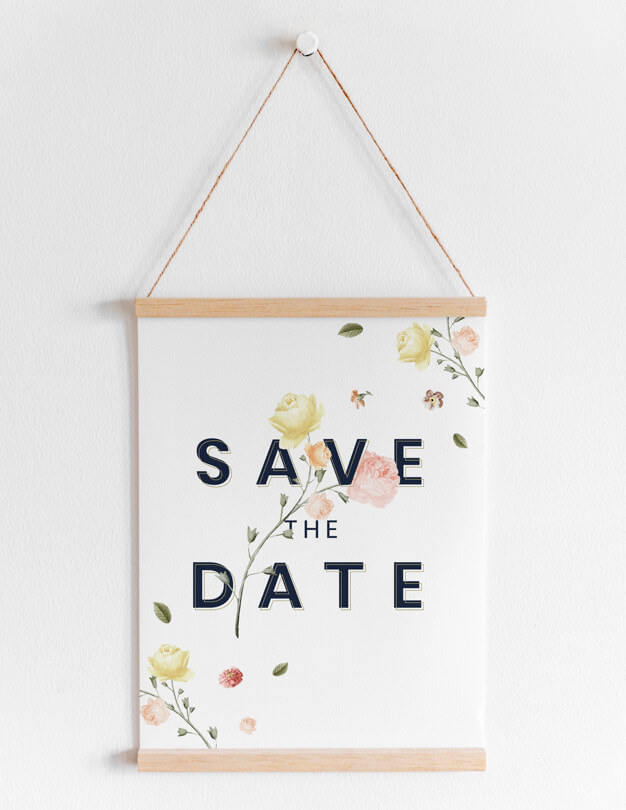 Floral Print Hanging Banner Template