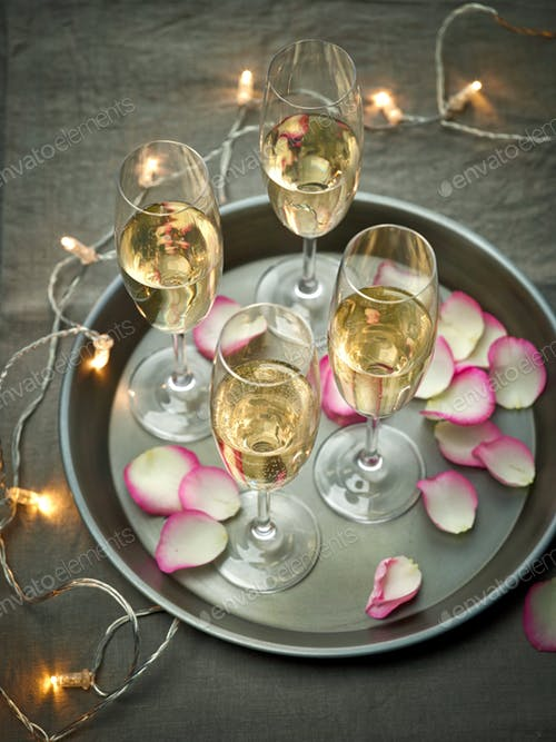 Four Champagne Glass Decorated Mockup