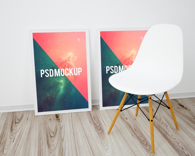 Frames on wooden floor and white chair mock up Free Psd