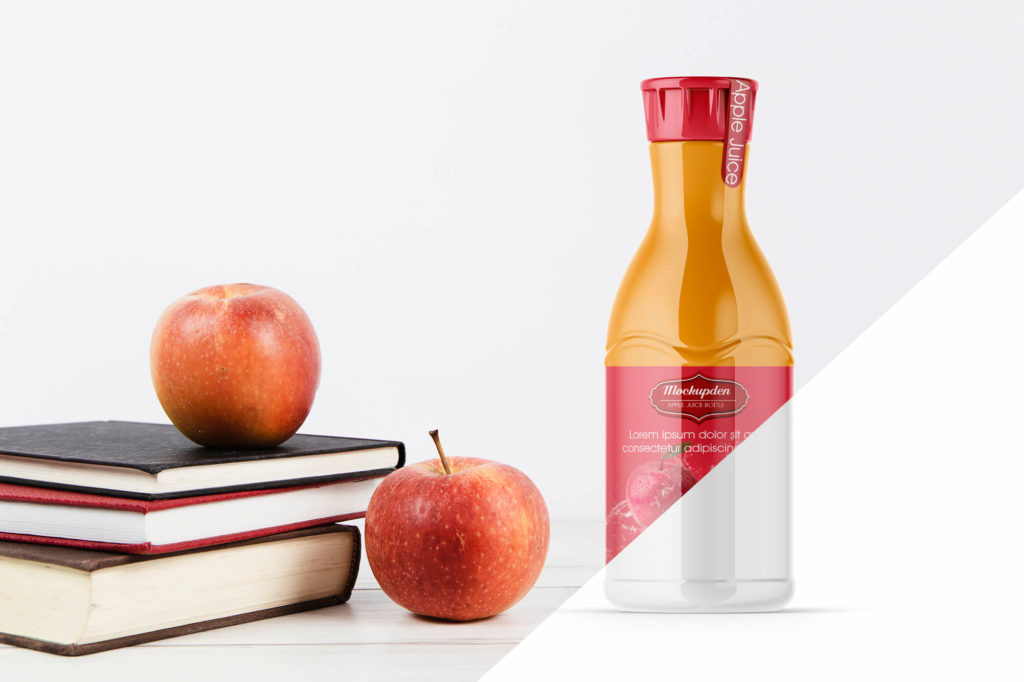 Editable Free Apple Juice Bottle Mockup PSD Template