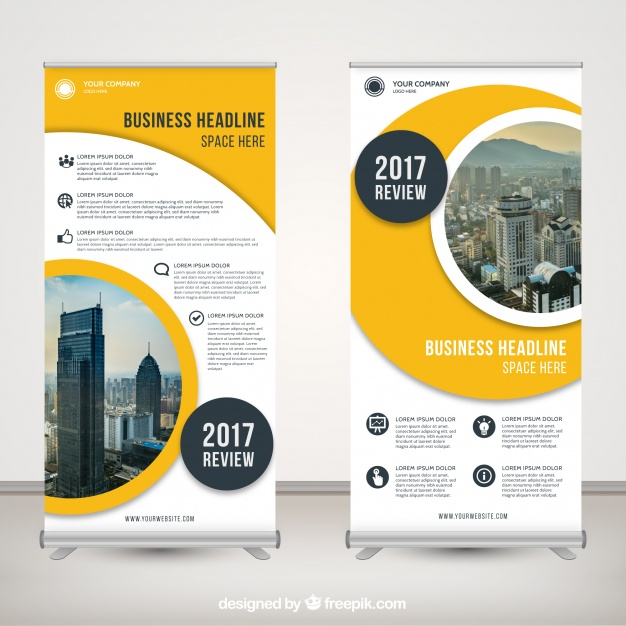 Free Business Review Roll-Up Mockup PSD