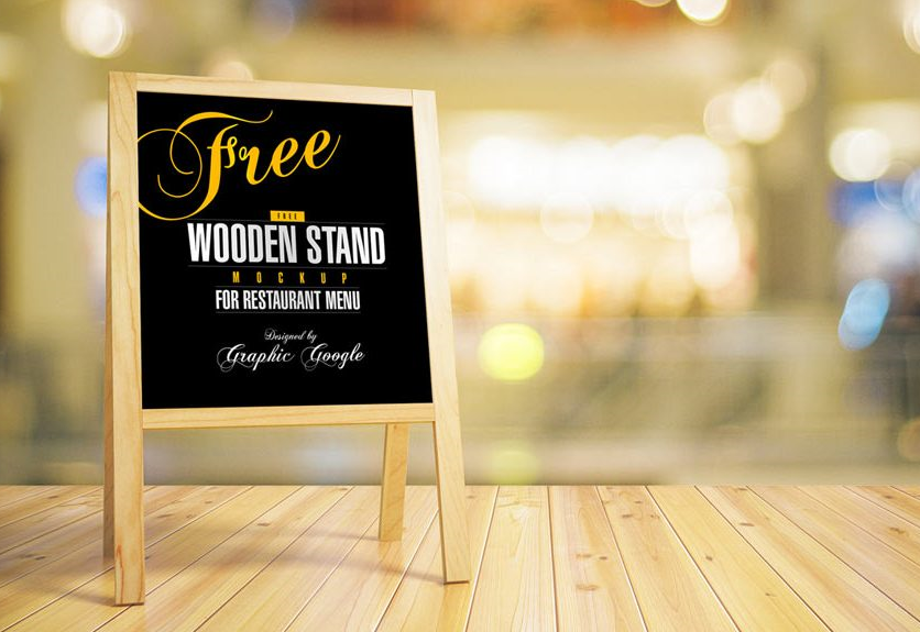 Free Chalkboard with Wooden Stand Template
