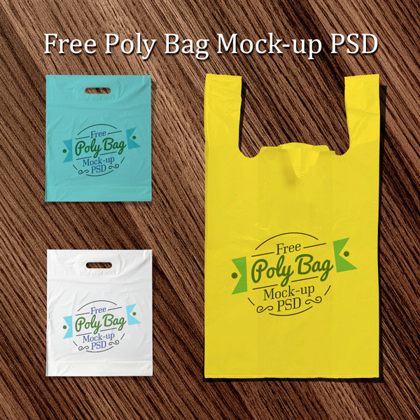 Free Food Container Poly Bag Mockup PSD