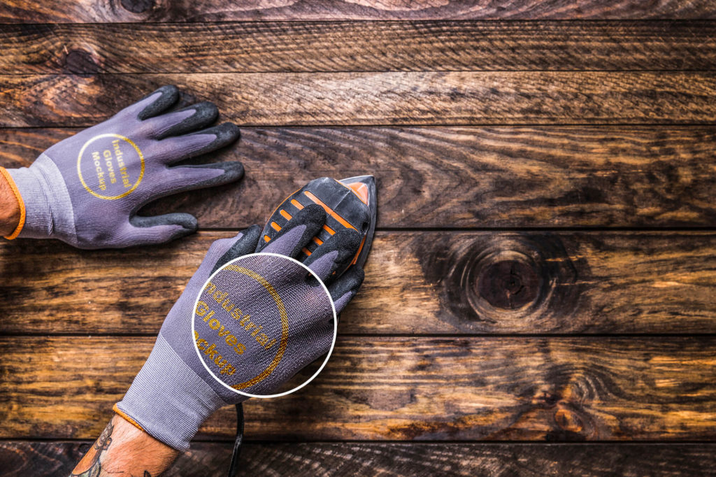 Close up of a Free Industrial Gloves Mockup PSD Template