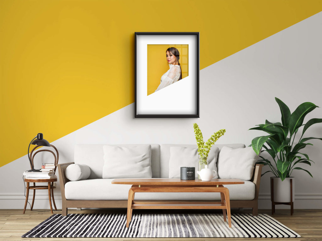 Editable Free Photo Frame Mockup in A Living Room PSD Template