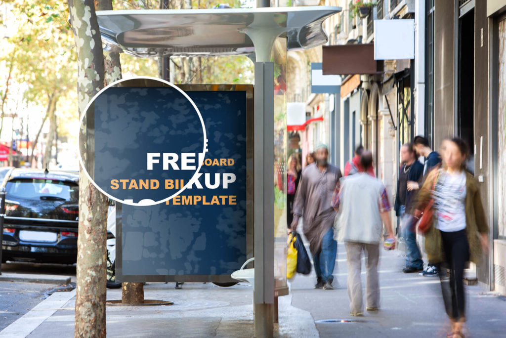 Close up of a Free Stand Bill Board Mockup PSD Template