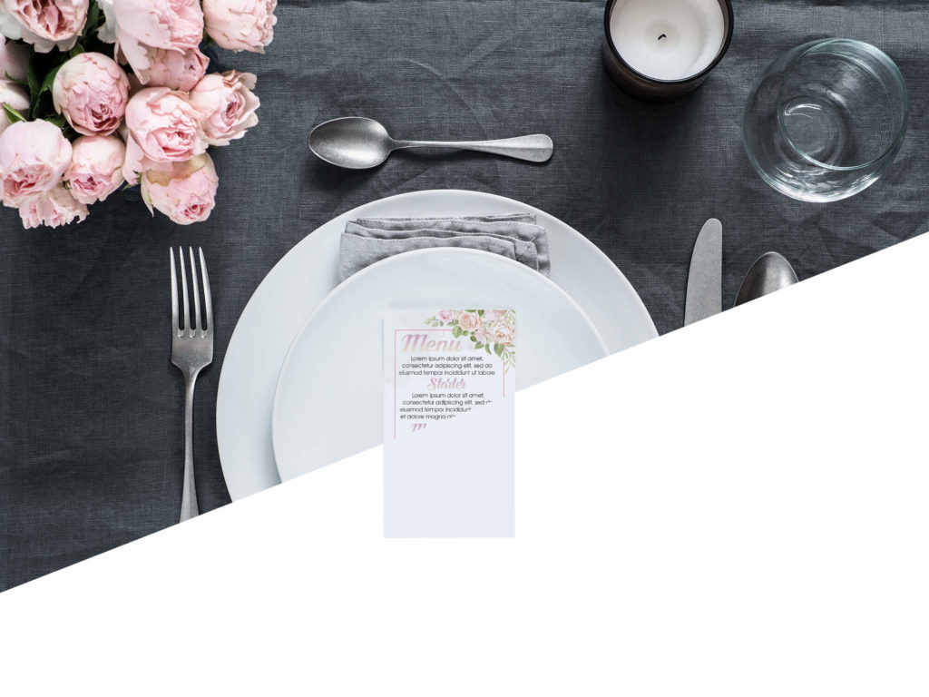 Free Wedding Menu Card Mockup PSD Template