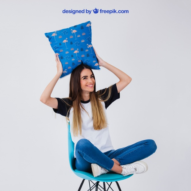 Free Women Holding Pillow PSD Mockup