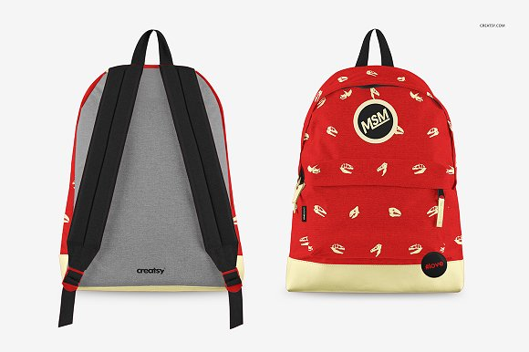 Front and Back faced Backpack Mockup