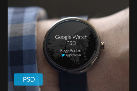 Google Watch Design Template in PSD Format