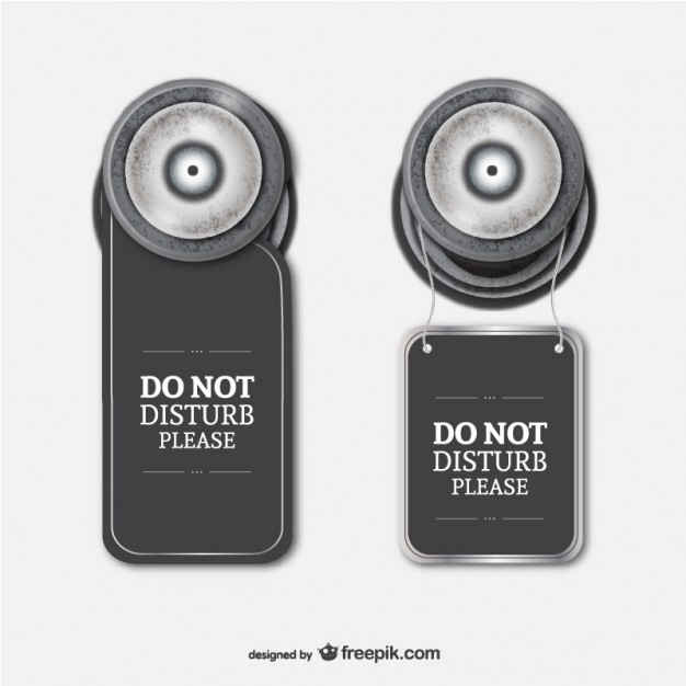 Grey Color Hang Hotel Do Not Disturb Door Sign Vector Illustration