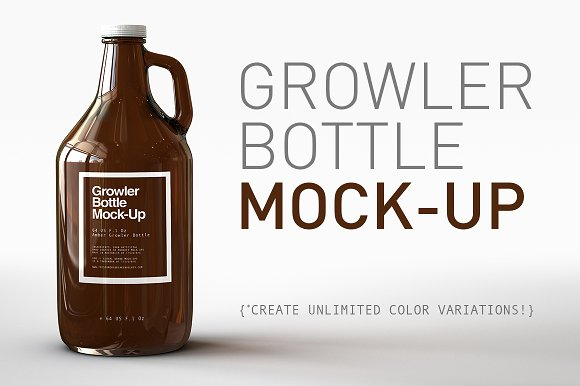 Growler bottle glass PSD template Design