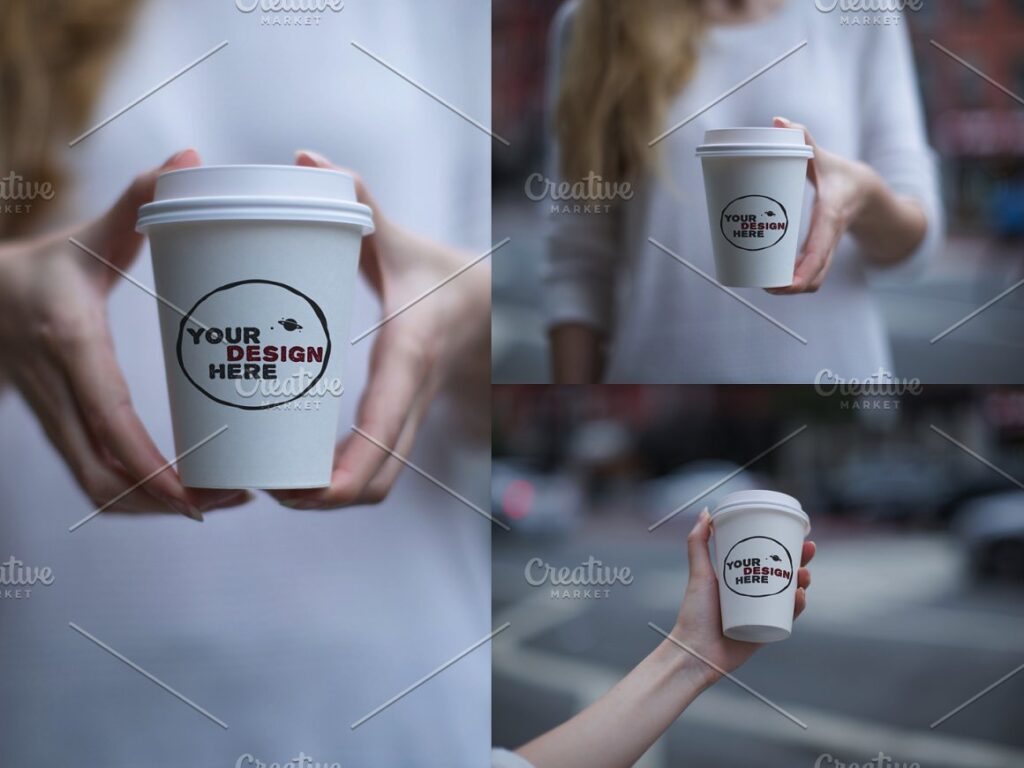 Hand holding Coffee Paper Cup Mockup Set