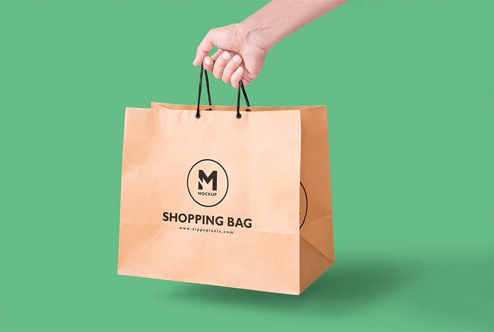 Handheld View Paper Shopping Bag Mockup