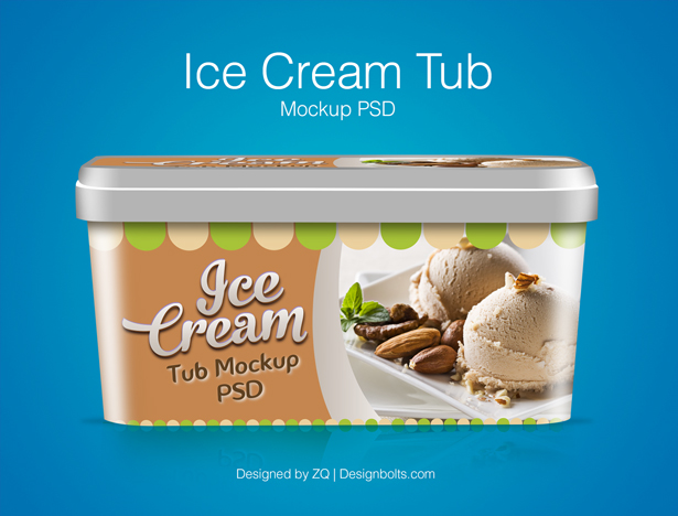 Ice Cream Tub Packaging PSD Mockup