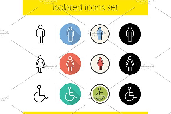 Isolated Door Sign Icons Mockup Set