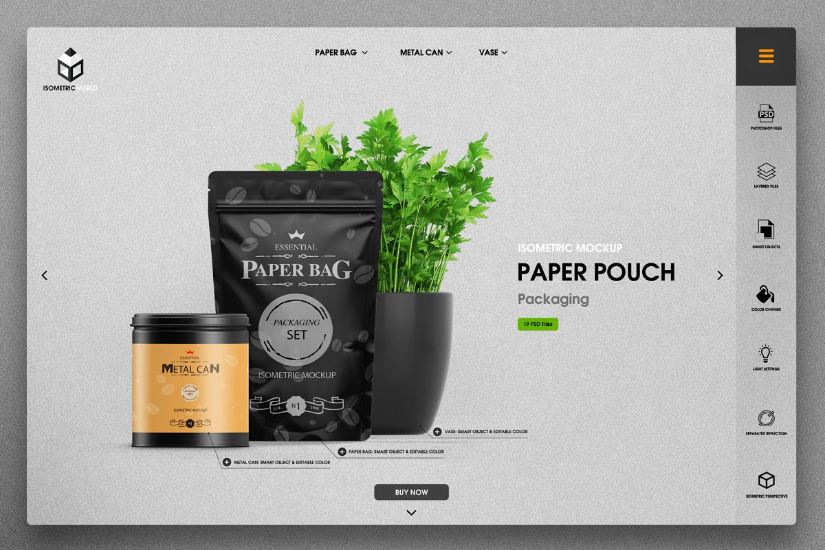 Isometric Design Product Packaging Pouch Mockup