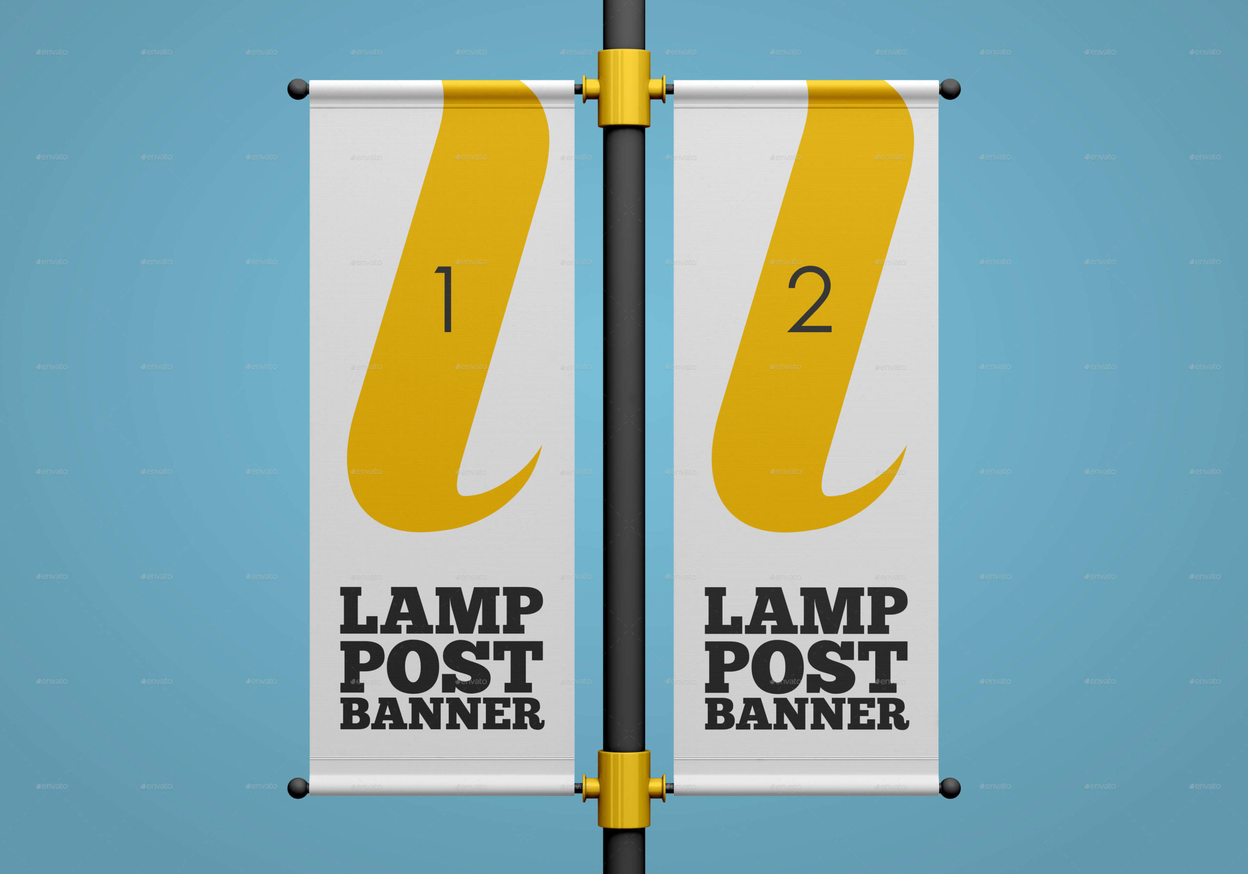 Lamp Post Banner Mockup Set