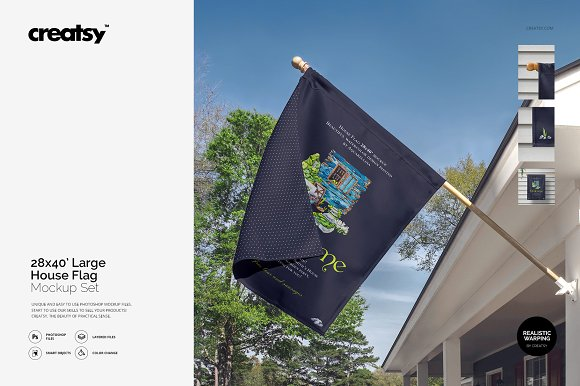 Large House Flag Mockup