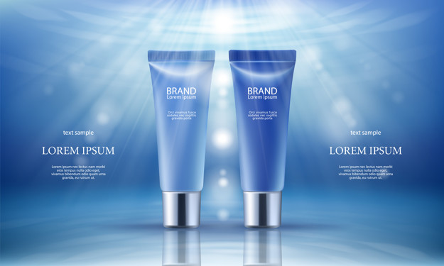 Light And Deep Blue Color Lorem Ipsum Cosmetic Packaging Bottle