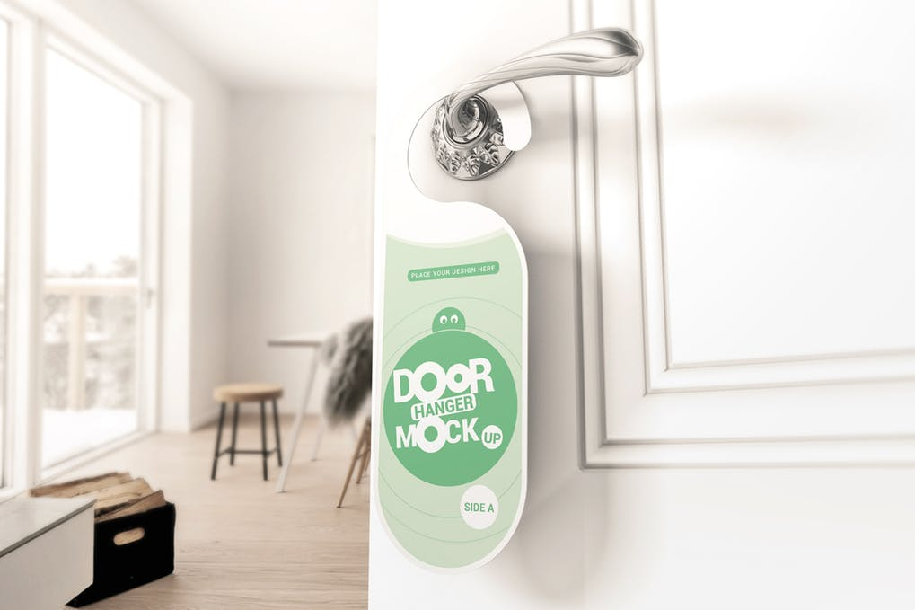 Light Green Color Fashionable Door Sign Mockup