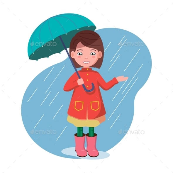 Little Girl is Standing with an Umbrella