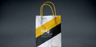 Long Handle Paper Shopping Bag Mockup:
