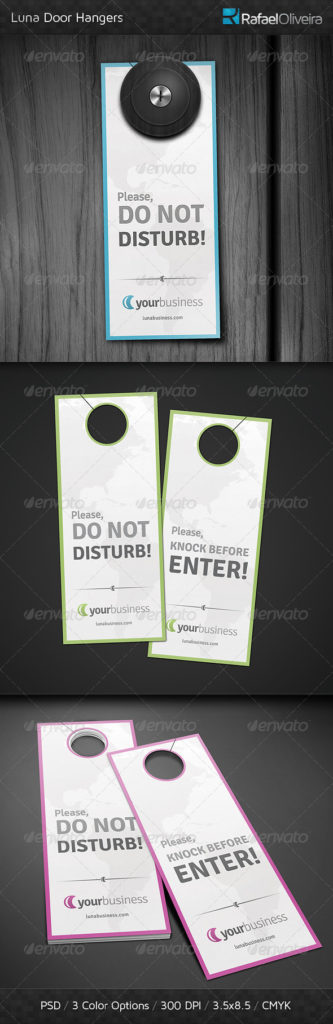 Luna Door Hangers Sign Mockup PSD