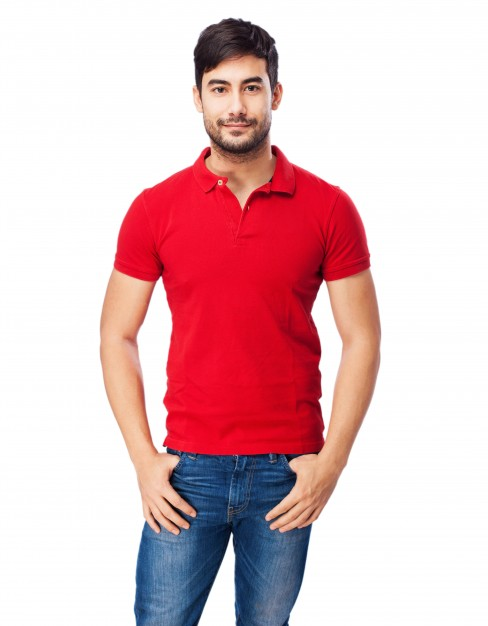 Man wearing a Red PSD Polo T-shirt: