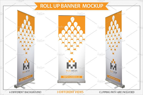 Media Presentation Roll-Up Mockup PSD