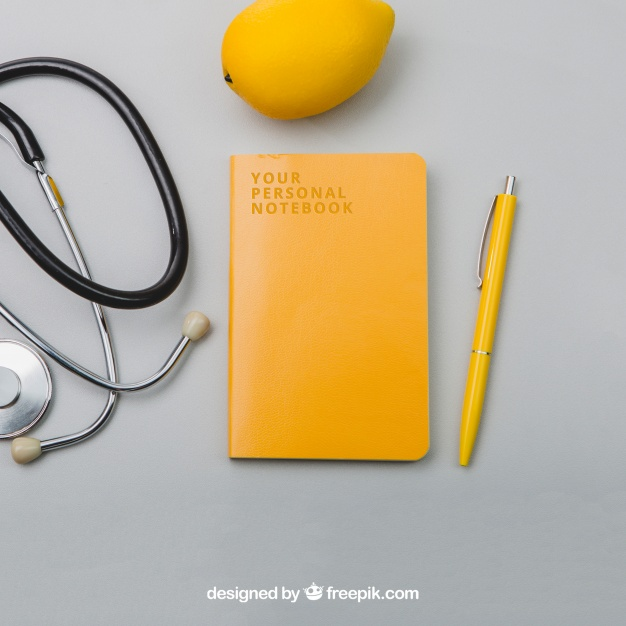 Medical Tool with Notebook and Lemon Mockup