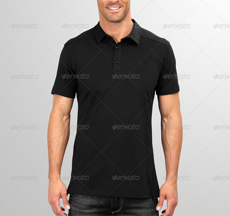 Mens Black Polo Shirt Mockup PSD: