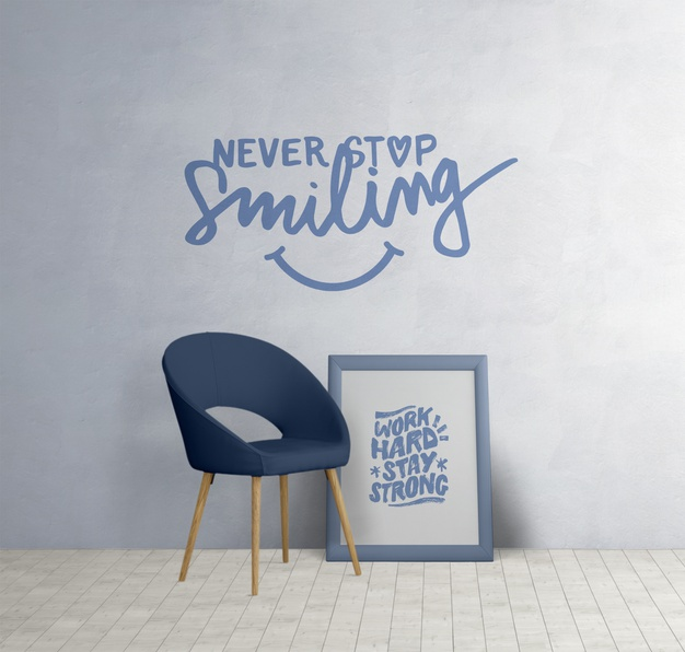 Minimalistic furniture with motivational quotes Free Psd