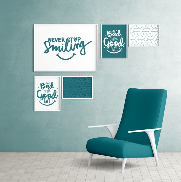 Mockup wall frames with bedroom chair Free Psd