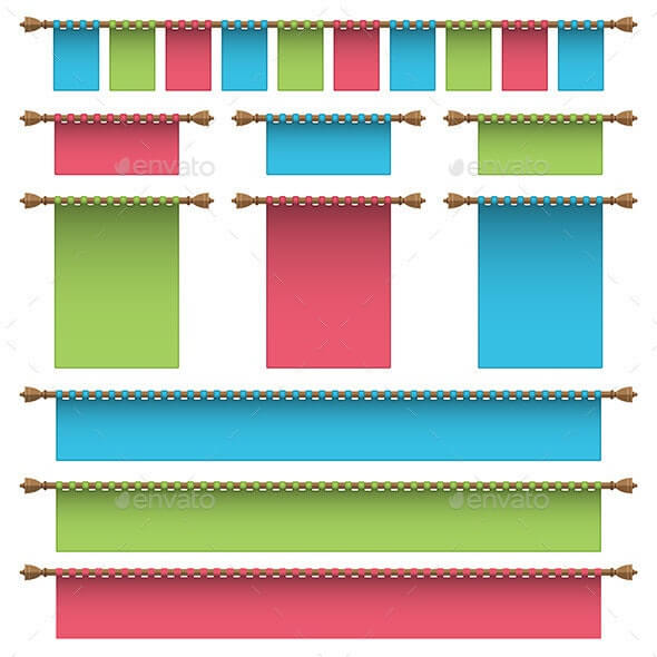Multi - Color Wall Hanging Banner Vector File