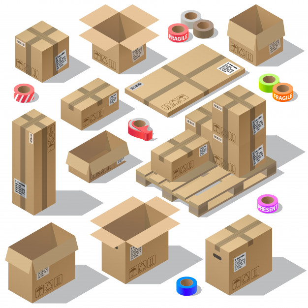 Multiple Design Product Shipping Box Vector File Illustration