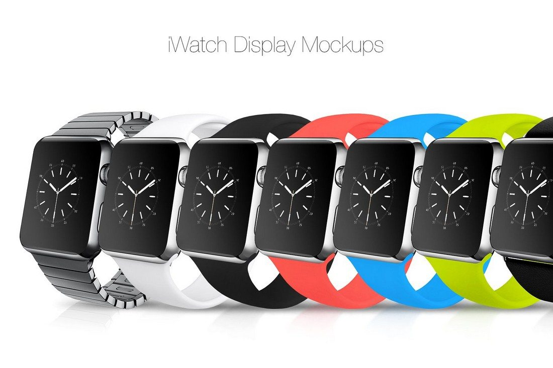 Multiple iWatch Displayed Template Design PSD Format