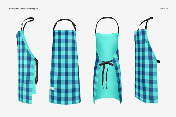 Multiple views of an Apron Mockup - Customizable Format