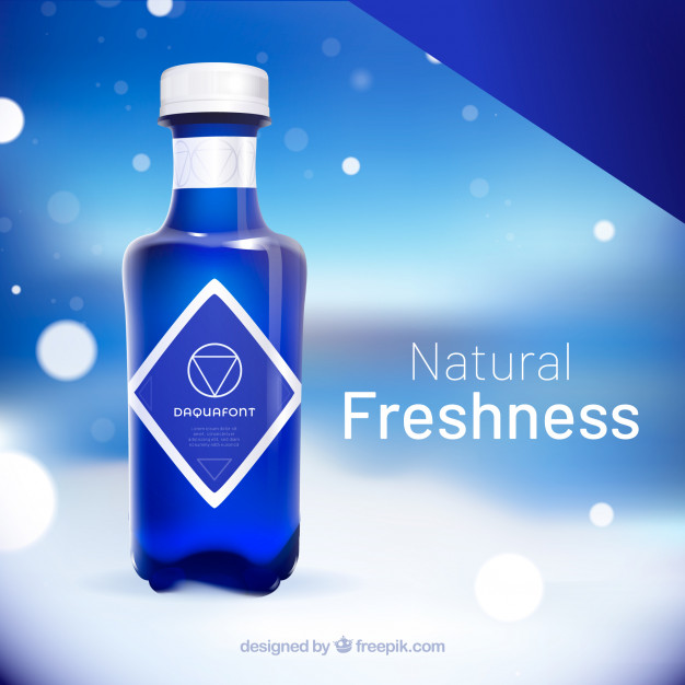 Natural Water Advertisement in Plastic Bottle PSD Mockup: