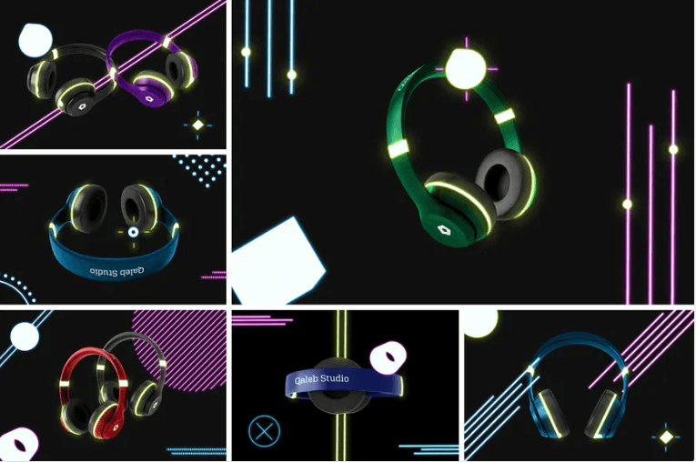 Neon Light Headphone Mockup PSD
