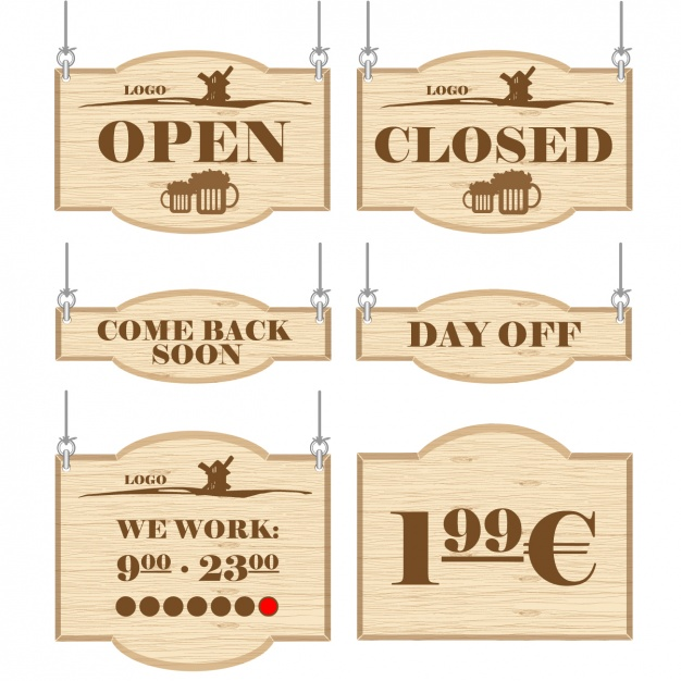 Open & Close Sign Board Vector
