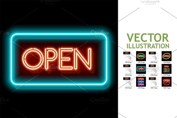 Open Door Signboard Vector File Illustration