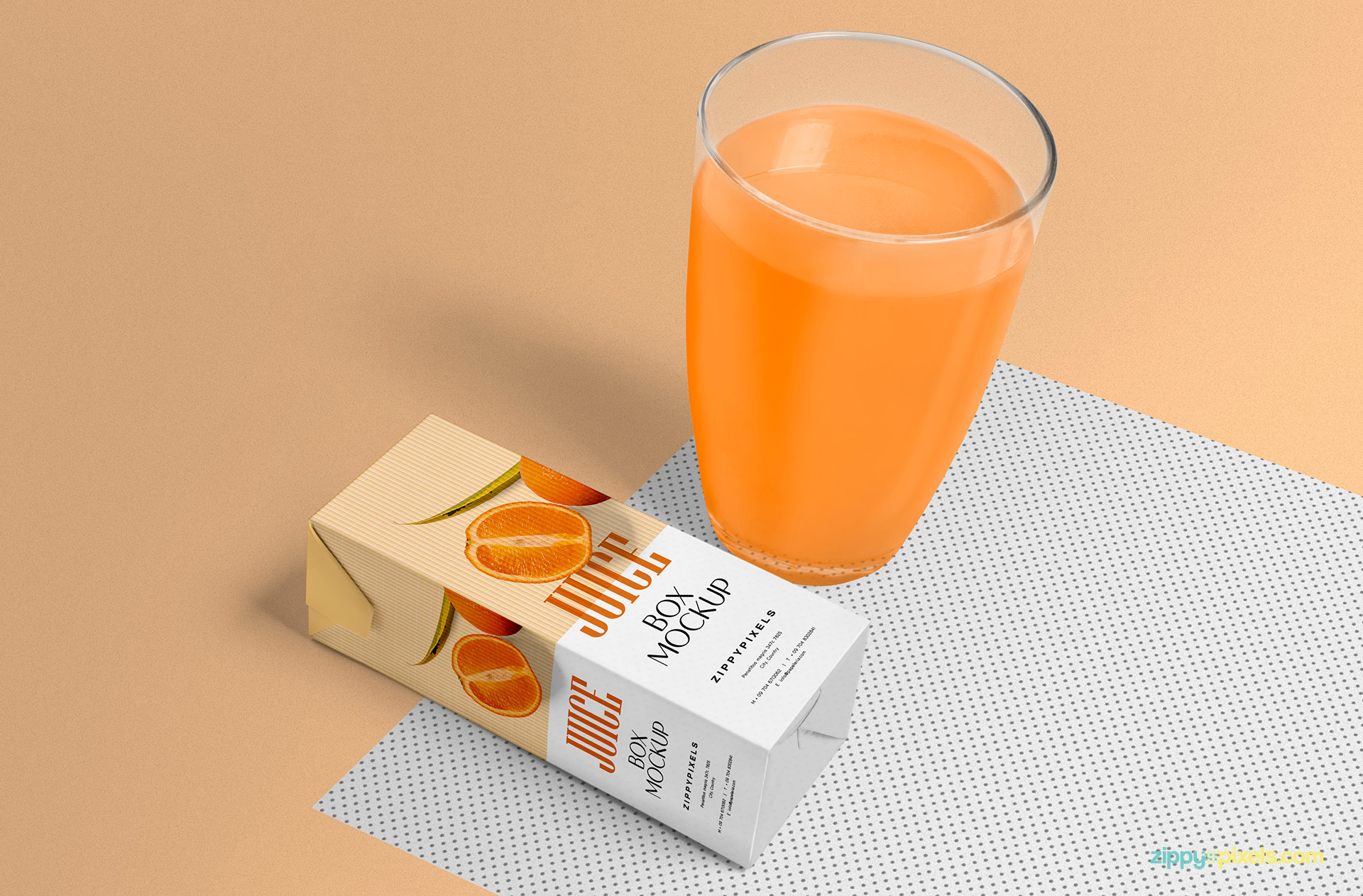 Orange Juice Glass Bottle Mockup