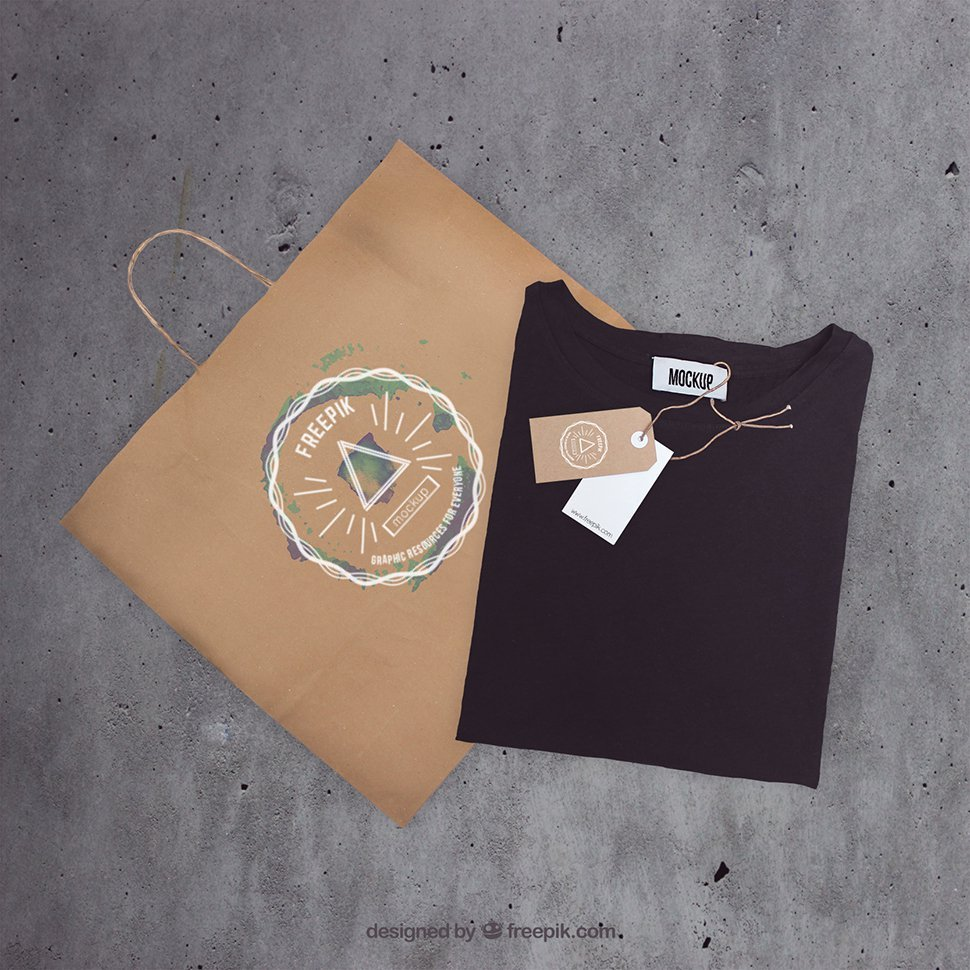 Paper Bag with black T-Shirt Mockup PSD