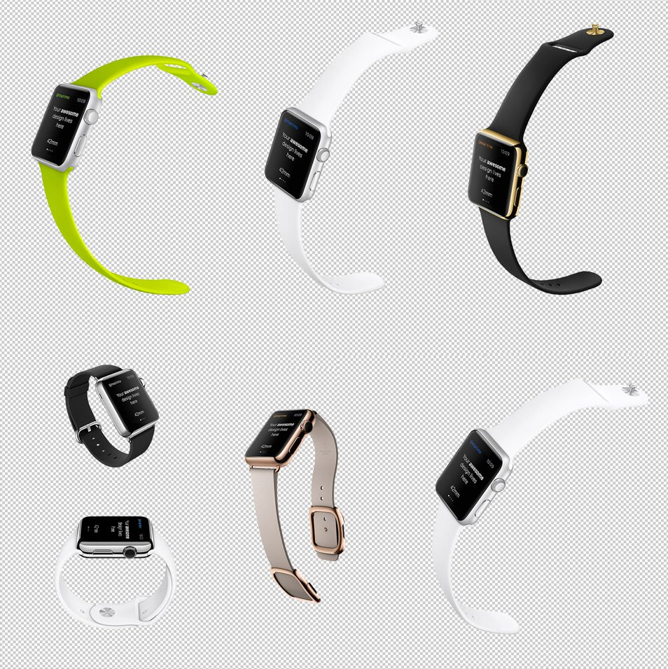 Photo Realistic Free iWatch Customizable PSD Template