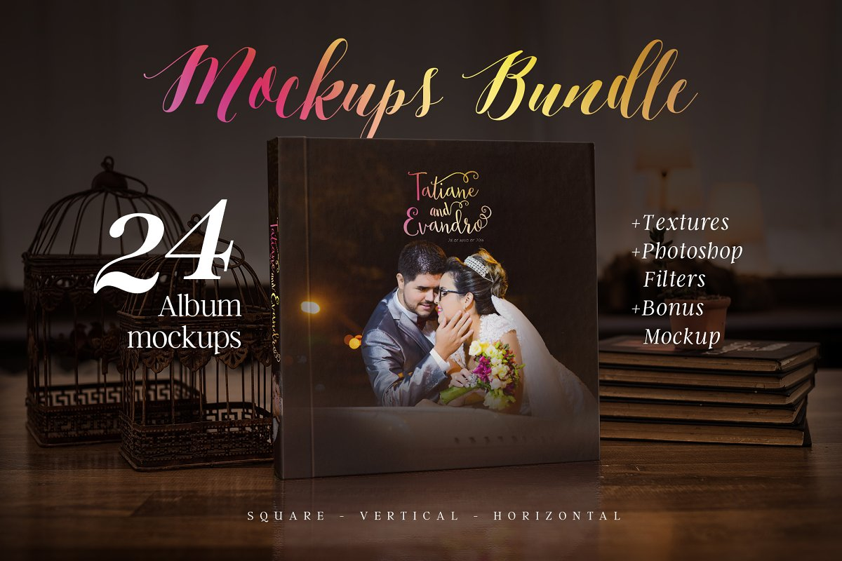 Photography album mockup bundle