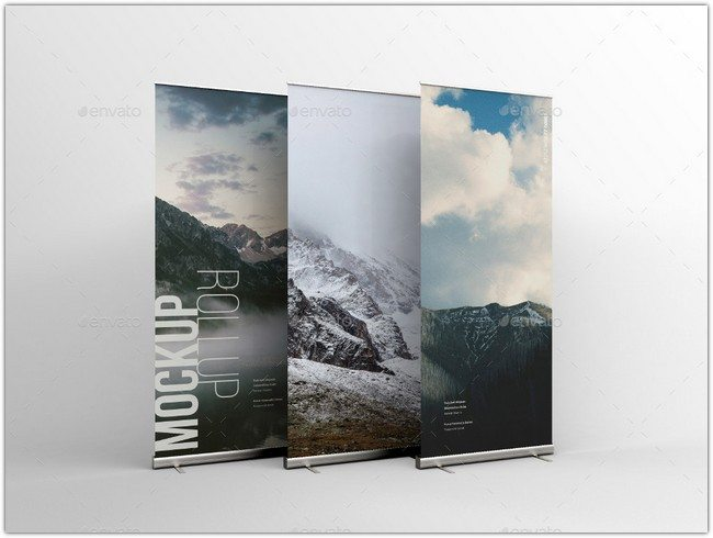 Photorealistic Roll-Up Mockup PSD