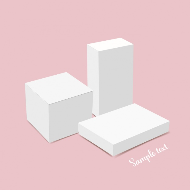 Pink Background Realistic Packaging Box Vector File Illustration