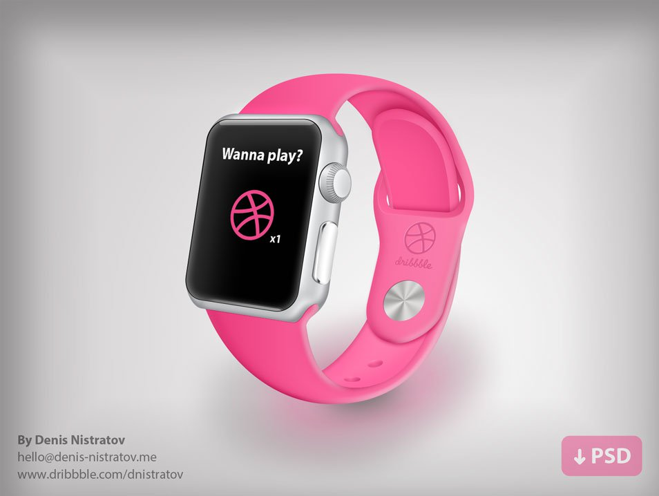 Pink Belt iWatch Template Illustration PSD