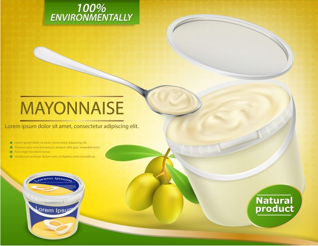 Plastic Food Container Mockups Filled With Olive Mayonnaise Mockup